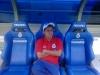 Cristian Ivan Ruiz del equipo Jaguares 1992 B en bancas del estadio Santiago Bernabeu (España) 2010